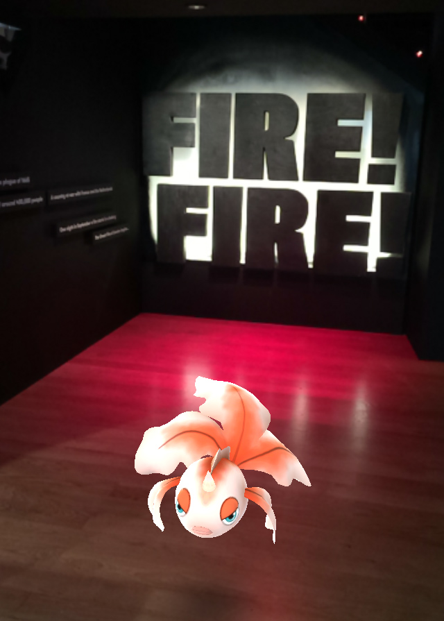 A screenshot of a Pokemon outside the entrance to the Fire Fire exhibition.