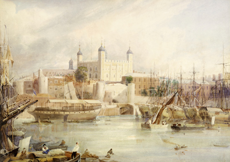 Tower of London. Watercolour. View of the Tower of London from the Thames with boats and passengers on the river.