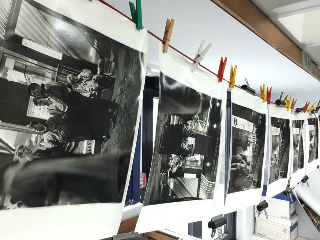 Negatives hanging to dry in the Museum of London photography studio.