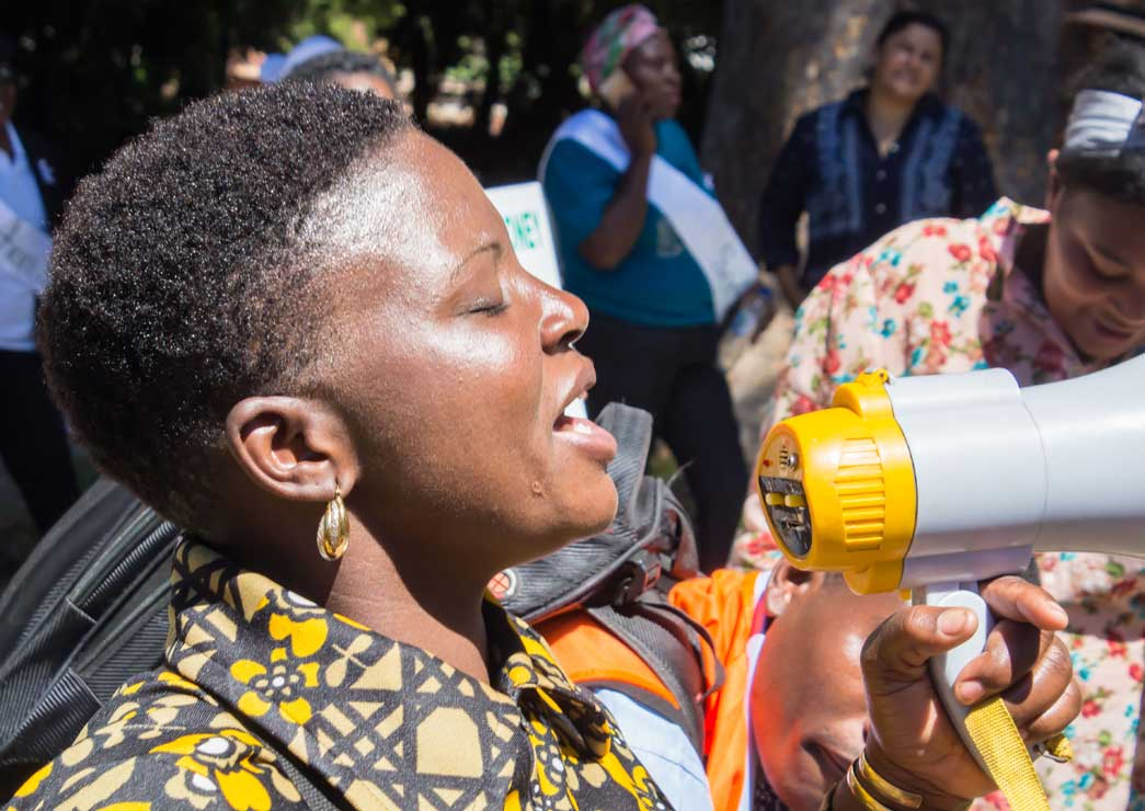 An activist campaigns in Zimbabwe.