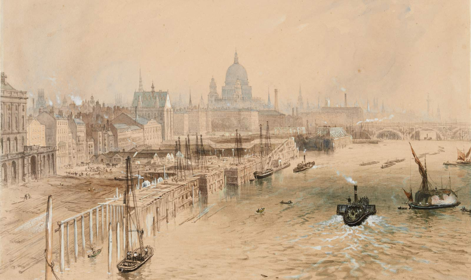 Atmospheric depiction of 'The Thames Embankment Works between Waterloo and Blackfriars Bridges'. Signed and dated. Construction of timber framework for the embankment. Piles of timber lie on shore & figures are at work on shore & on scaffolding. Steam & sailing boats are on river. In distance is Blackfriars Bridge & dome of St. Paul's.