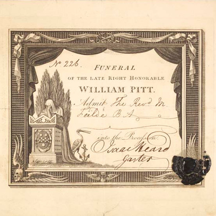 Funeral ticket of the late right honorable William Pitt