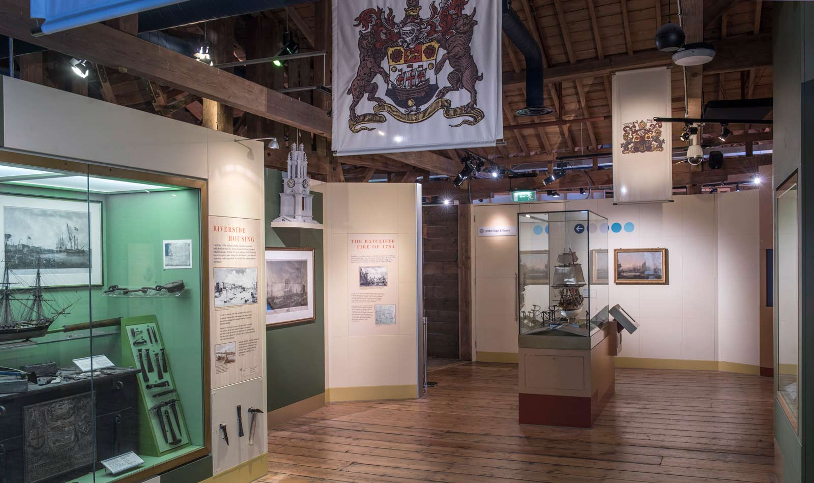 Interior of the Trade Expansion gallery at the Museum of London Docklands.