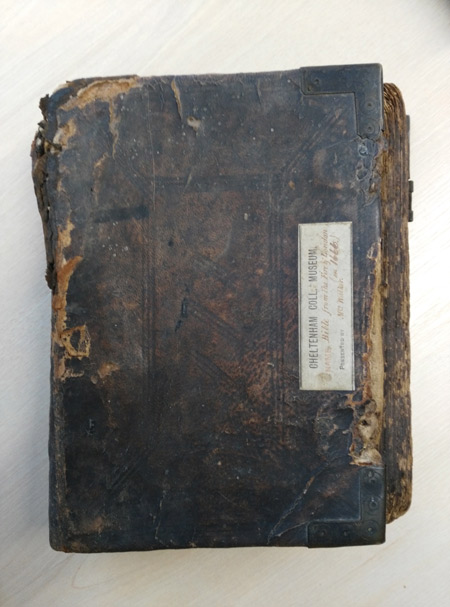 Cover of a bible reputedly burnt during the Great Fire of London.