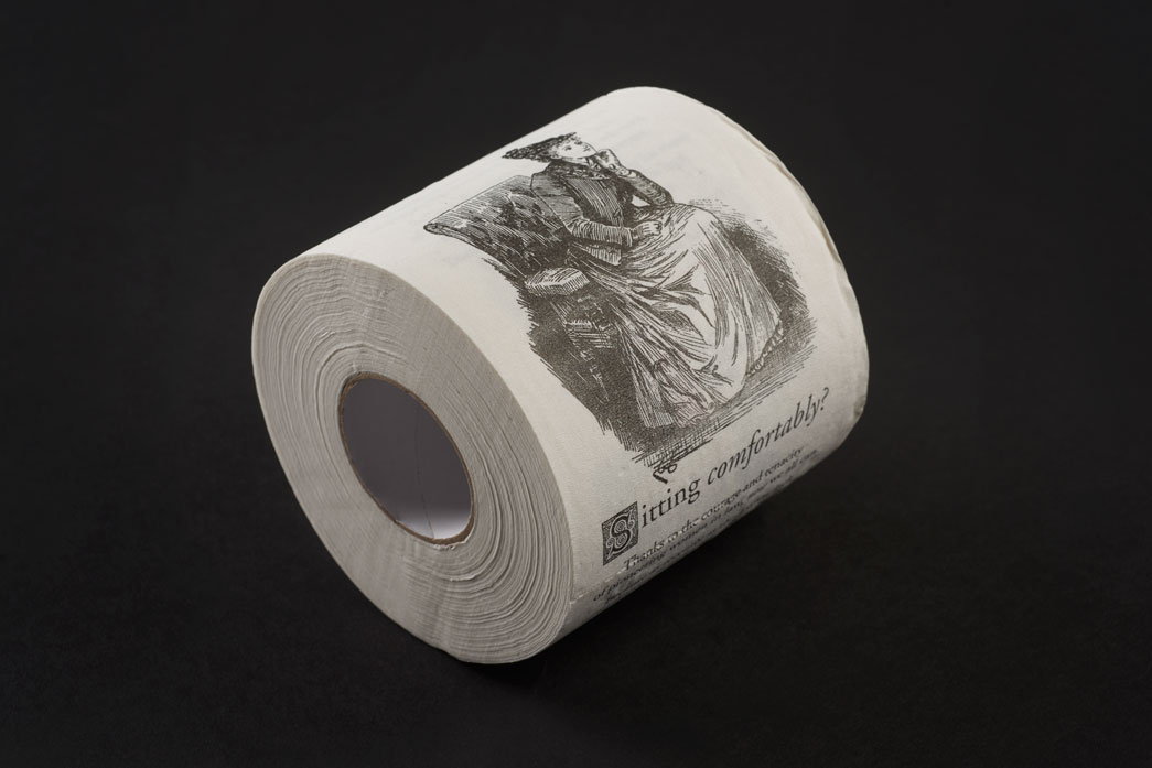 One of a limited edition of 100, this printed toilet roll was commissioned by the First 100 Years project as part of their work to chart the journey of women in the legal profession since 1919. It represents how a lack of washroom facilities for women at law firms and legal institutions was used as a pretext not to hire female lawyers, even as recently as 1970s. The roll was designed by Adrien Raphoz with the text by Grant Codron.