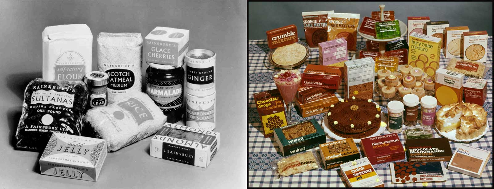 Comparison of Sainsbury's own-brand packaging in 1950 and 1970.