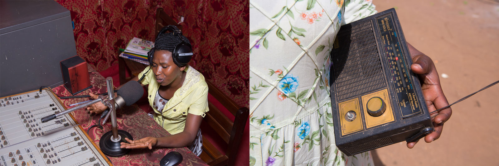 In Uganda, the National Association of Professional Environmentalists (NAPE) have established a radio station called Community Green Radio where women's stories are broadcast. Radio staff source stories from local women's groups, with prominent topics including the gendered impacts of land grabs in Uganda and climate change and pollution (Images 12 and 13). On the other end, NAPE also organises Listeners Clubs, where women can gather with radios to listen to the station (Image 14).