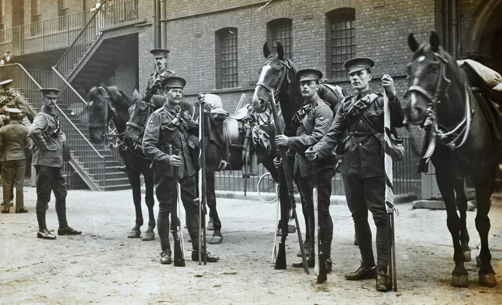1st Life Guards mobilising at Knightsbridge Barracks to leave for France, August 1914, by Christina Broom