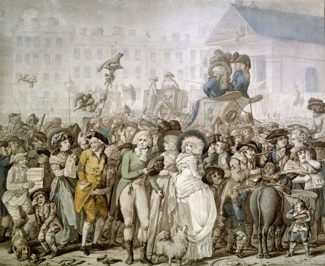 This pen and watercolour drawing is one of several depictions of the Westminster Election by Robert Dighton in the Museum's collection. Here, Dighton presents us with a scene in Covent Garden during the election of 1788, when Lord John Townshend campaigned against Admiral Lord Hood. Recognisable portraits include the politician Charles James Fox, the Duke of Norfolk and John Wilkes, Chamberlain to the City of London.