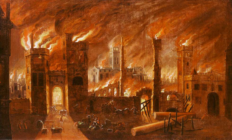 Oil on canvas. This painting derives from an original by Jan Griffier the Elder (c. 1645/52-1718), it is not dated or signed. The Great Fire of London started in a baker's shop in Pudding Lane in the early hours of of Sunday 2 September 1666 and raged for the next four days destroying four-fiths of the city walls. This painting depicts the cataclysmic scale of the disaster.