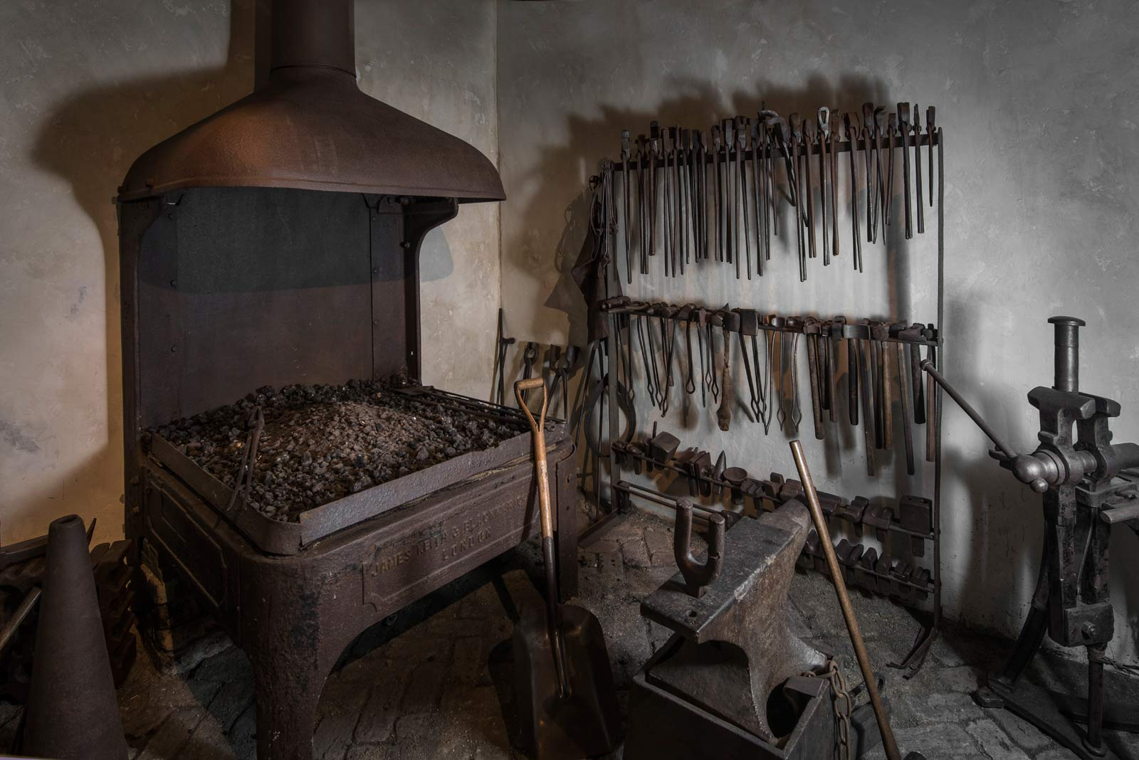 Recreation of a blacksmith's forge used to make parts for ships and warehouses in the Port of London.