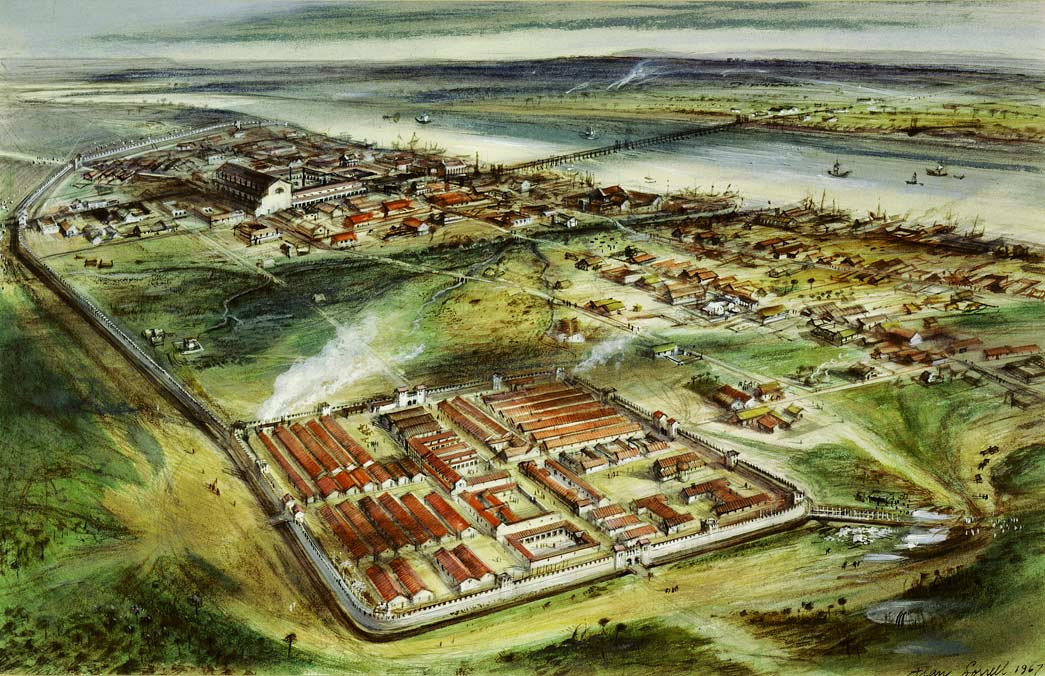 Reconstruction drawing of Londinium looking east: 'Roman London c. 200 AD'. Gouache and pastel drawing of Roman London circa 200AD with the addition of the city wall.