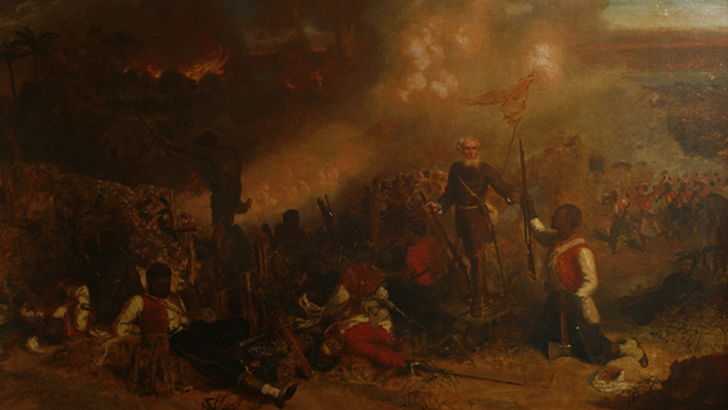 The Capture of Tubabakalong, Gambia 1866 Chevalier Louis William Desanges This painting depicts Private Samuel Hodge of the 4th West India Regiment, who was the first African-Caribbean man to be awarded the Victoria Cross.  Penlee House Gallery & Museum, Penzance ©Penlee House Gallery & Museum, Penzance