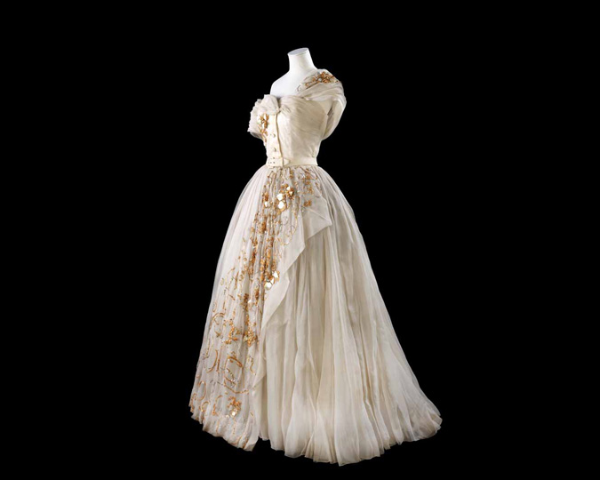 A side view of a dress worn by Princess Margaret and designed by Dior.