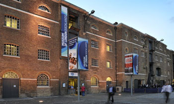 An exterior shot of the Museum of London Docklands from the quayside.