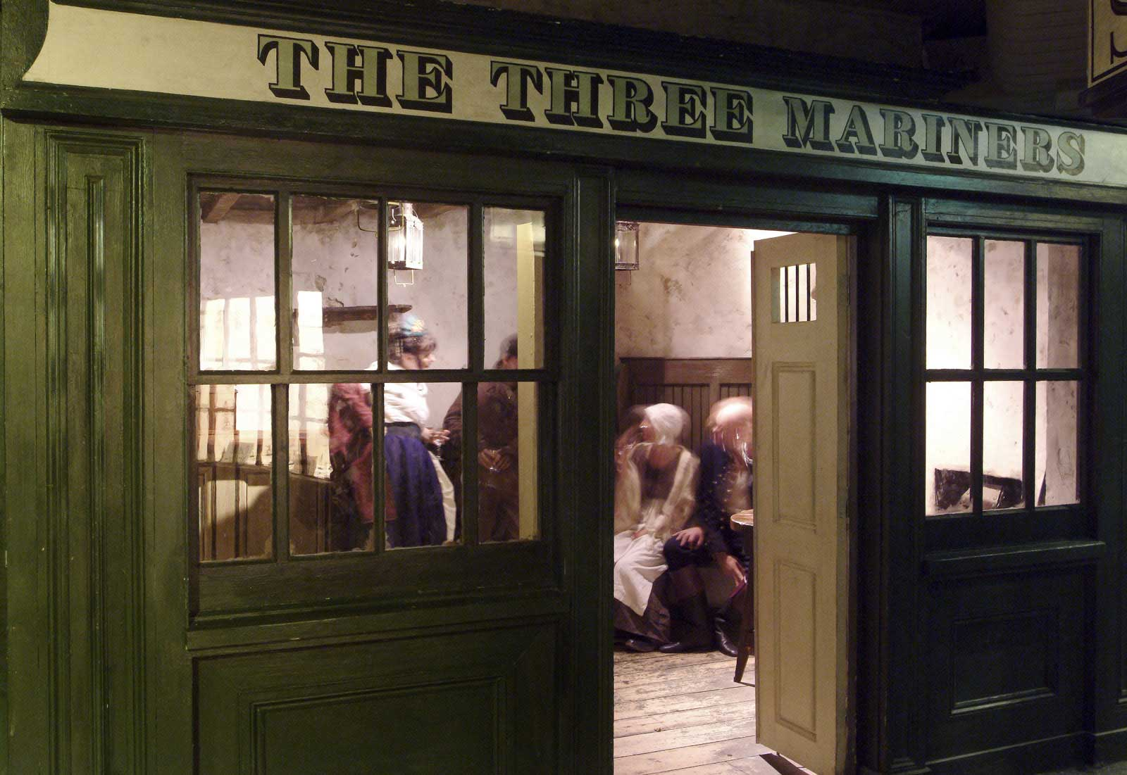 The Three Mariners pub in the reconstructed Sailortown at the Museum of London Docklands.