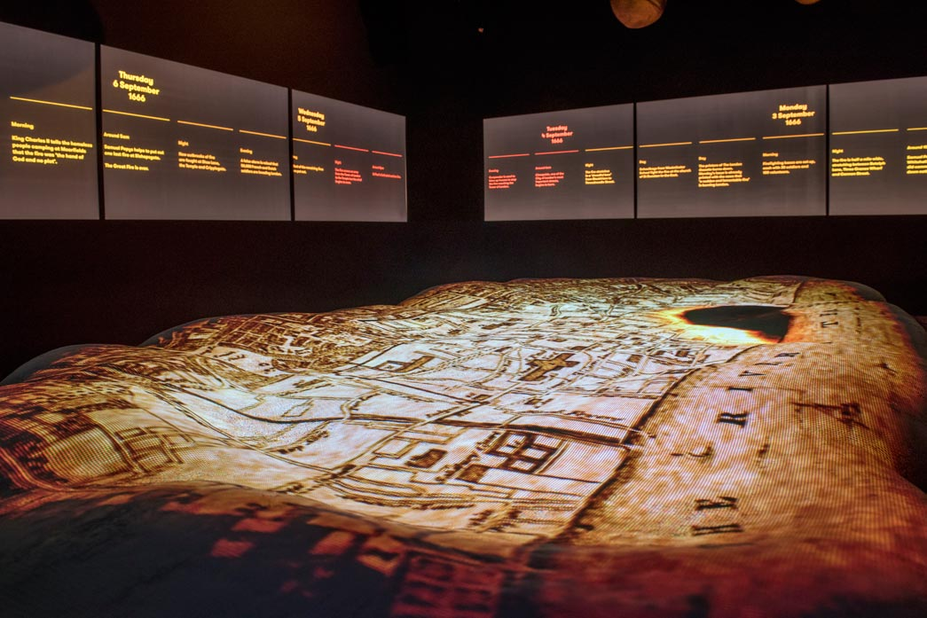 Interior of the Fire Fire exhibition showing the Great Fire of London spreading.