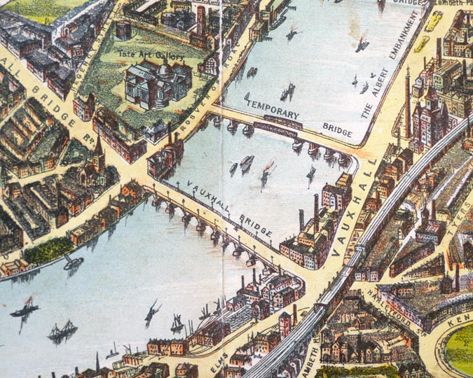 An illustrated map of the River Thames in 1901, showing the Vauxhall temporary bridge.