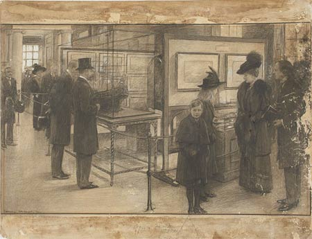 Sketch showing the royals touring the newly opened London Museum.