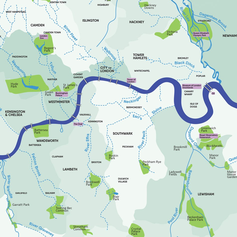 Use this handy map to locate the many waterways that flow into the Thames. Which one is closest to your school?