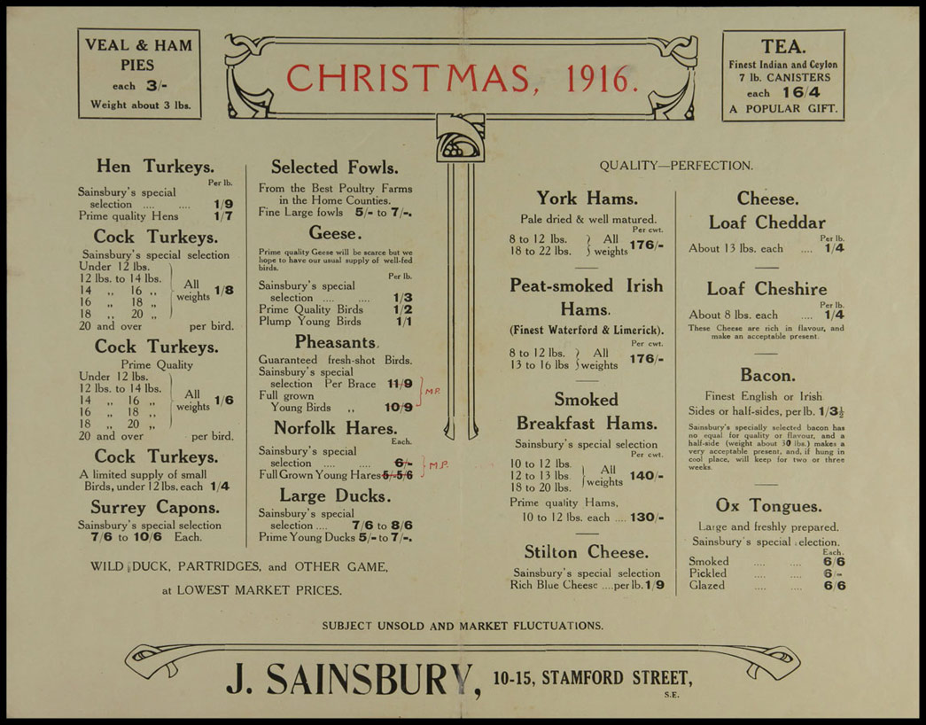 Christmas price list, 1916. Copyright Museum of London/Sainsbury Archive.