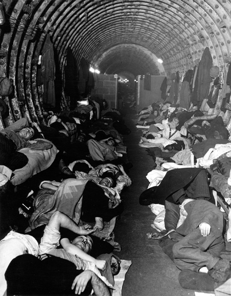 Photograph of Londoners sheltering in Liverpool Street station during the Blitz, 1940.