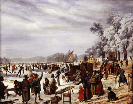 A crowd of skaters are shown enjoying themselves on the frozen Serpentine Lake, in Hyde Park. In the foreground, near a low table with an array of skates, three men are shown being fitted up for skating. To their left is a lifeguard wearing an overcoat marked ROYAL HUMANE SOCIETY.