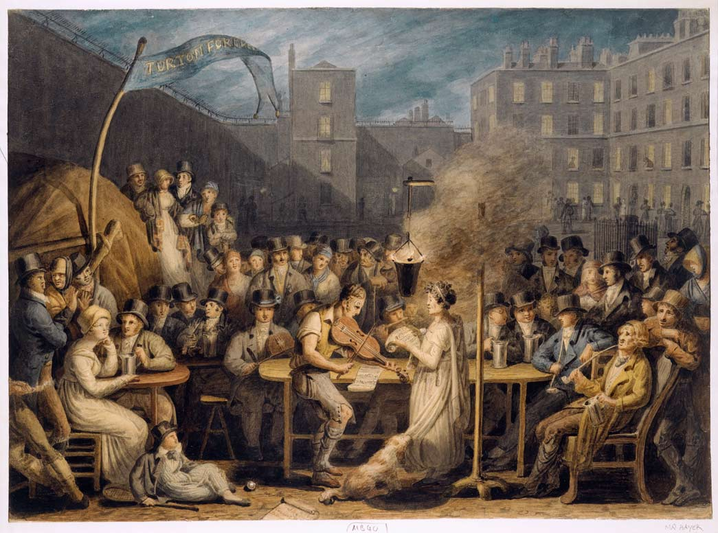 King's Bench Prison. Watercolour. This night-time scene shows the courtyard of the King's Bench Prison, situated off Borough High Street. As the banner shows, the prisoners are celebrating the election to the House of Commons of Thomas Turton, a supporter of Pitt the Younger and Clerk of the Juries in the Court of Common Pleas.