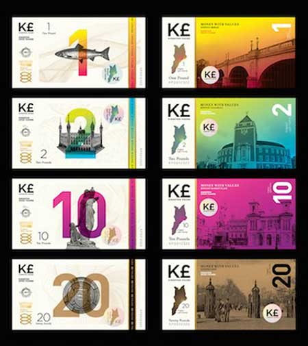 Kingston Pound designs, local alternative currency.