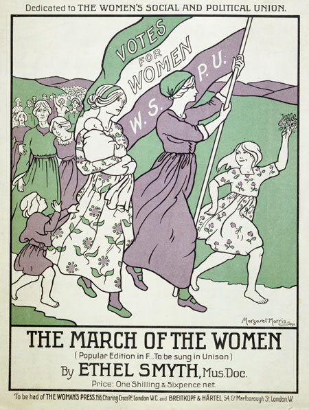 Music score and words for 'The March of the Women'. Composed by Ethel Smyth with words by Cicely Hamilton. 'March of the Women' was played for the first time in public on Saturday 21 January 1911 at a social event at Suffolk Street Galleries to welcome those imprisoned after Black Friday. Votes for Women reported that 'The fiery spirit of revolution united with religious solemnity, the all-conquering union of faith and rebellion which makes the strength of the militant movement, is expressed in Smyth's Marching Song. It is at once a hymn and a call to battle'. The title page is printed with a drawing in purple, white & green by Margaret Morris.