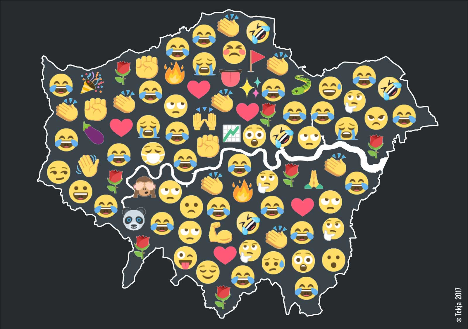 Data visualisations of London's emoji use.