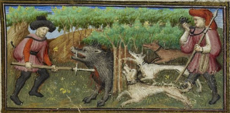Miniature of a man piercing a boar with a spear during a boar hunt, while another man blows a horn and three dogs engage in the hunt, with a full foliate border including Capricorn, from the calendar page for December.