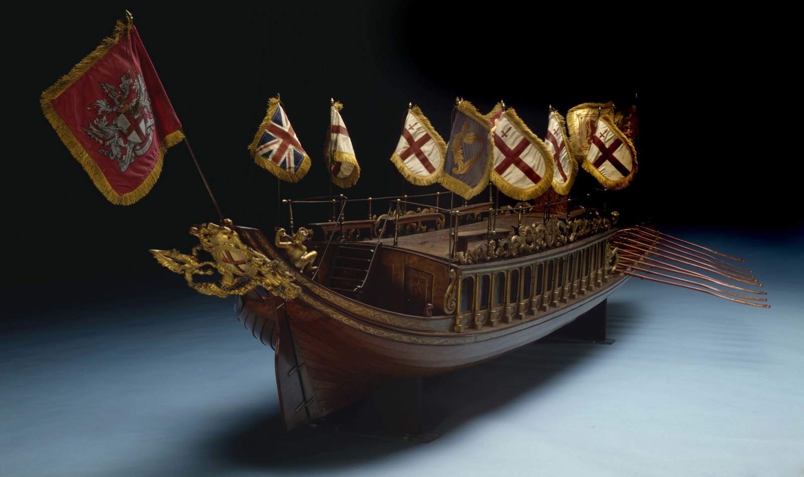Ceremonial barge of the Mayor of London model, on display in the City and River gallery, Museum of London Docklands.