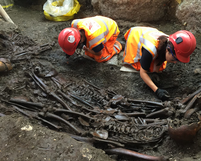 A view of the mass grave uncovered at Liverpool Street by the Crossrail tunnel.