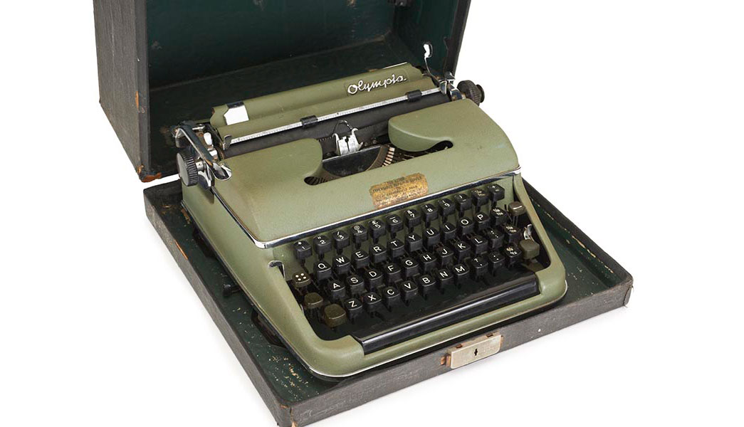 This olive green Olympia SM2 portable typewriter was the most treasured possession of Ivy Hollis (nee Ferguson), born 1916.