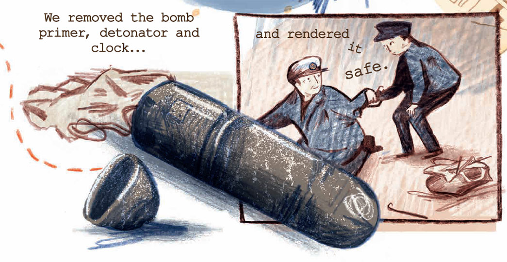 A cartoon of German parachute bombs being defused during the Second World War.