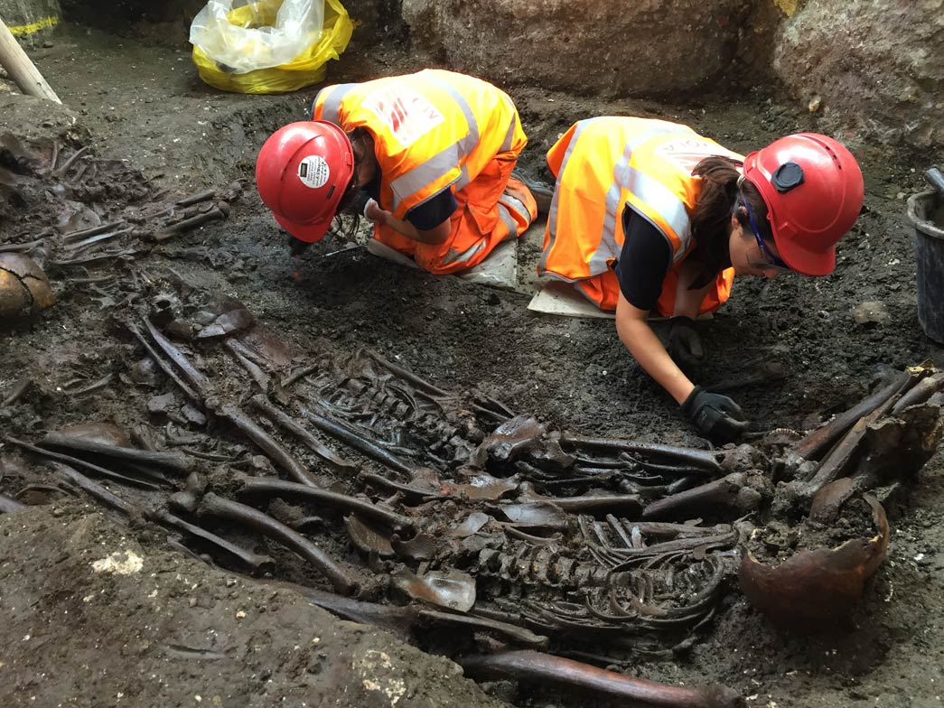 Mass burial site uncovered during the Crossrail excavation.