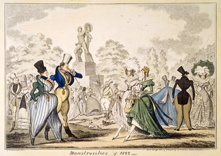 Monstrosities of 1822. A scene satirising society fashions in Hyde Park near the Achilles statue. A coloured engraving by George Cruikshank.
