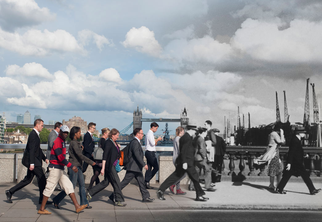 Composite photograph showing contempory and historical image (by Henry Turner) of pedestrians walking over London Bridge.
