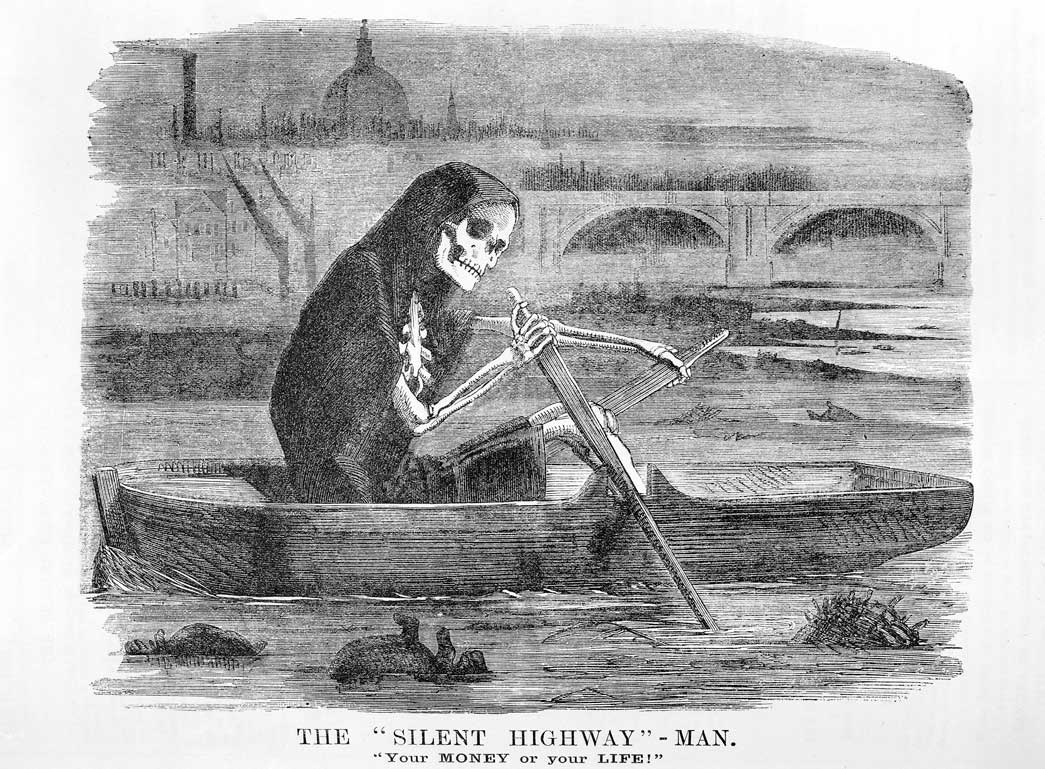 The 'Silent Highway' - Man. 'Your money or your life'. Cartoon published in Punch magazine, 10 July 1858, No. 35. This cartton refers to the problems caused by the very hot summer of 1858. The summer heat together with a very high level of sewage and pollution, caused a very bad smell coming from the river Thames. This cartoon depicts the allegorical figure of death rowing a boat on the polluted and foggy river where dead animals float by. Death is here associated with pollution and disease. St. Paul's Cathedral can be seen side by side with a smoky factory in the distance.