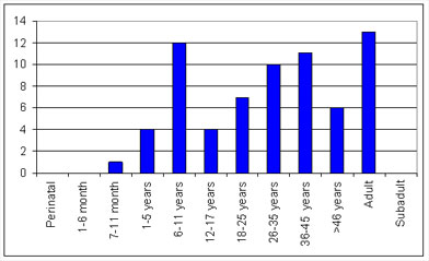 Graph of age distribution in Guildhall Yard