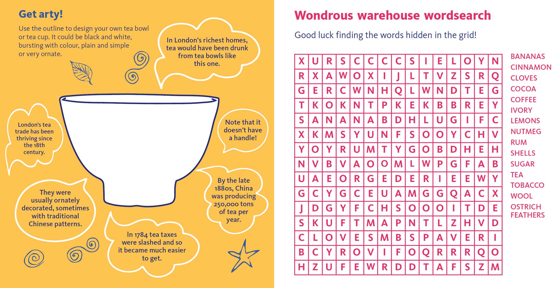 A trace-your-own-cup and wordsearch activity that show why Creative & Connected is best printed out.