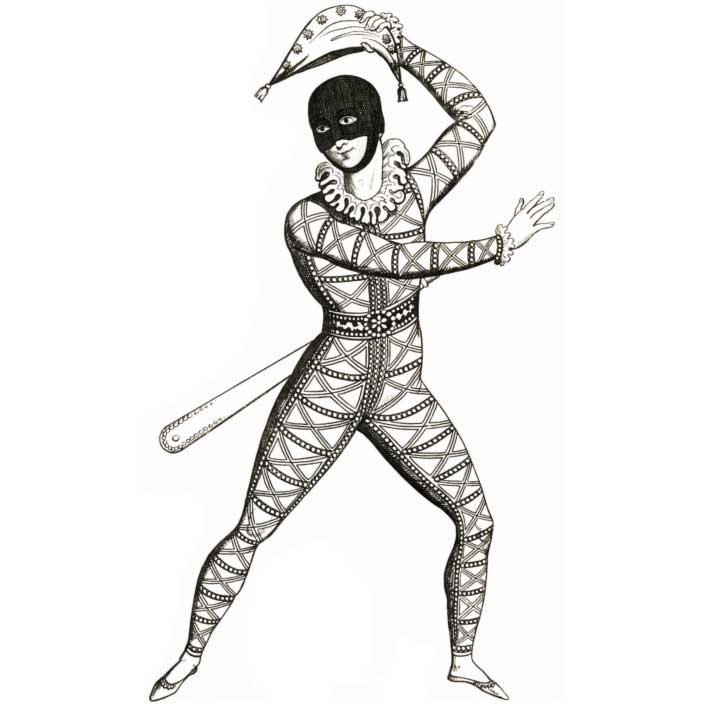 Black and white illustration of an acrobat in a patterned unitard, balaclava and hat.