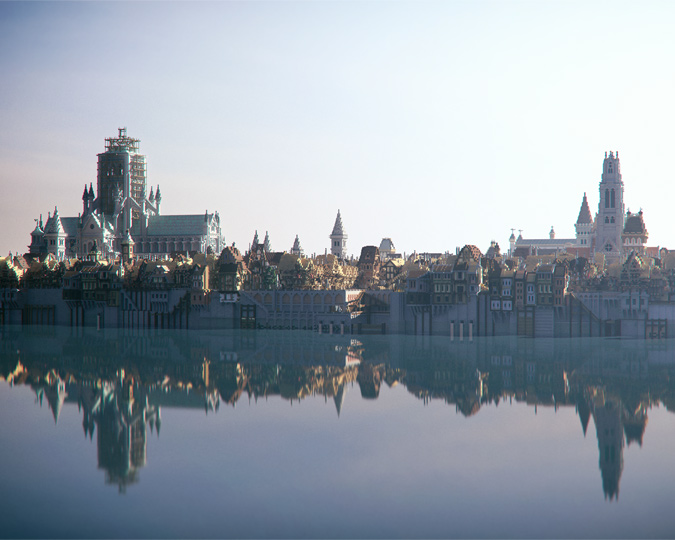 Panorama of the Great Fire 1666 map of Minecraft London.