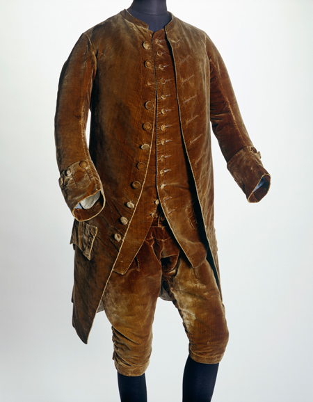 Brown velvet suit, coat, waistcoat and breeches associated with David Garrick. David Garrick wore this suit to have his portrait painted.