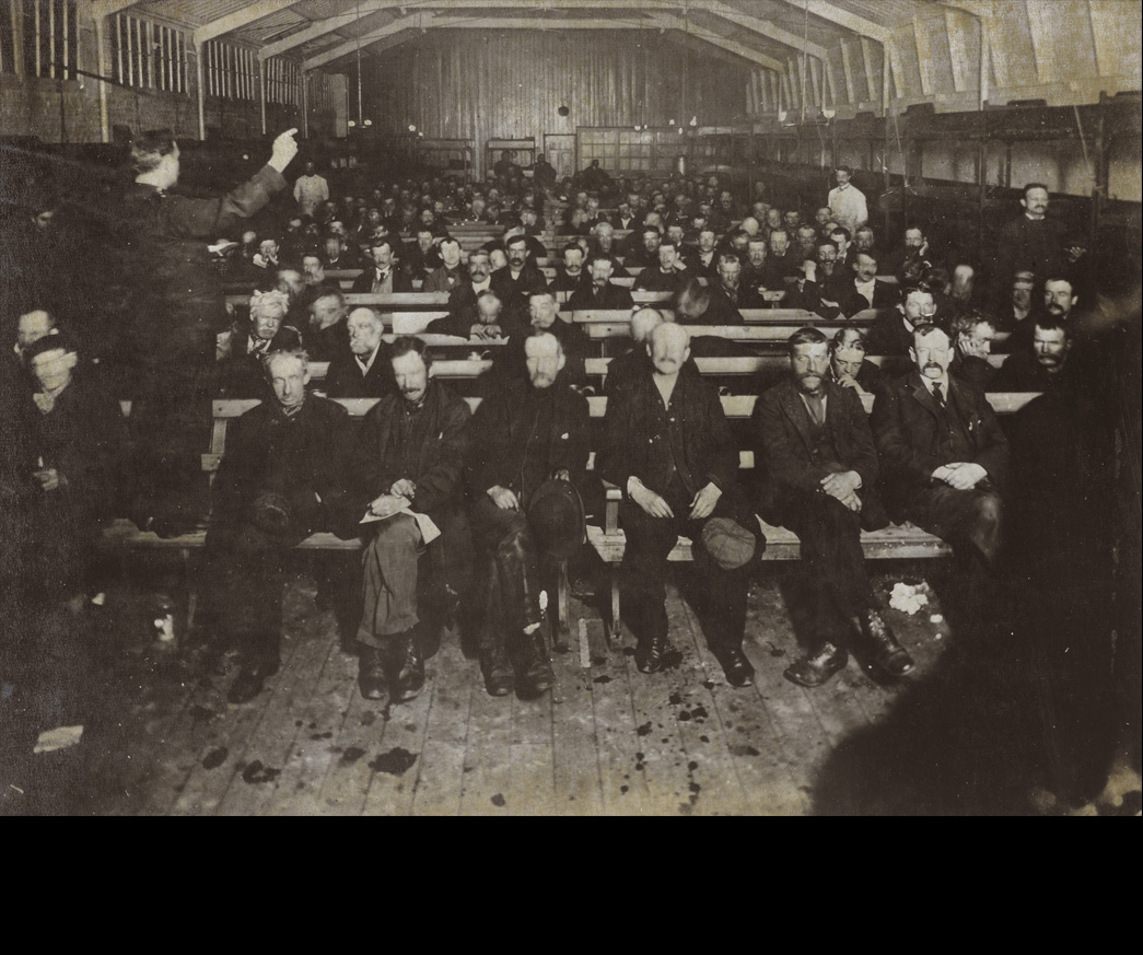 Night meeting at the Blackfriars Shelter; c.1910