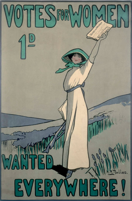 A poster advertising the weekly suffragette newspaper Votes for Women. The poster was designed by the suffragette artist Hilda Dallas (1878-1958) and is printed in the suffragette colours of purple, white and green. Here a suffragette is depicted as a feminine, womanly woman. This and similar representations were used by the Women's Social Political Union to attract more women supporters and to counter the views of critics who argued suffragettes had abandoned their traditional feminine roles. At the height of the campaign 40,000 copies of the newspaper were sold each week. Until 1912 Votes for Women was the 'official paper' of the Women's Social and Political Union.