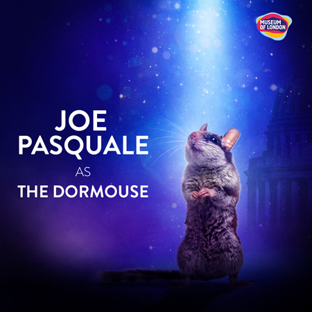 A picture of a dormouse accompanied by the words Joe Pasquale.