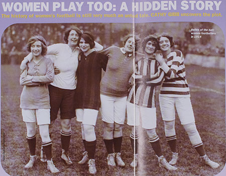 Photograph from article in Kick it Again magazine, titled 'Women Play too: A Hidden Story', 1995