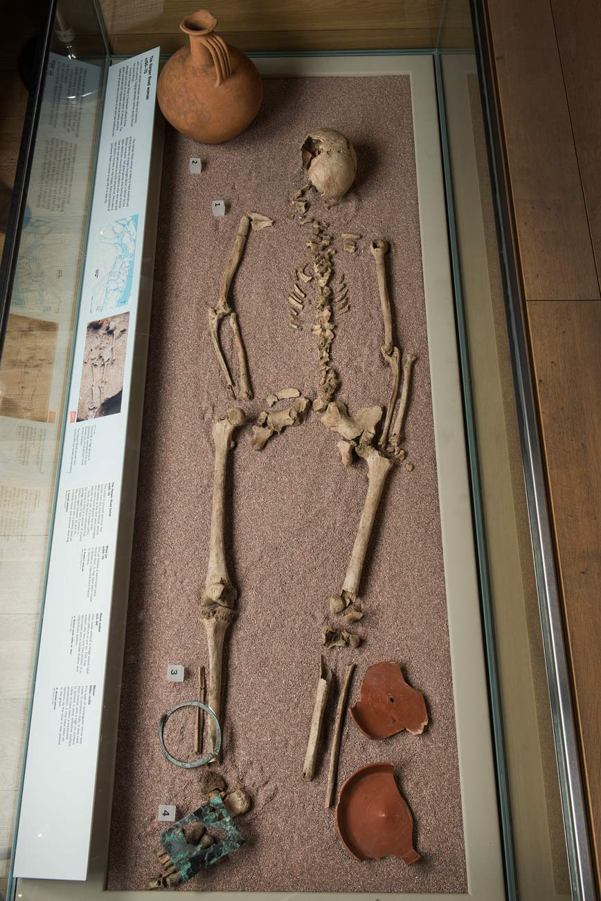 Skeleton of the Harper Road Woman, prehistoric inhabitant of the London area, in the London Before London gallery.